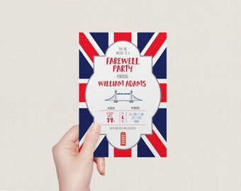 Farewell party invitation | London study abroad announcement | Britain telephone box and England flag (DP154)