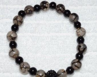 Black Dragon Vein Agate Bracelet