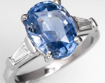 5 Carat Light Blue Sapphire Vintage Platinum Engagement Ring HH472