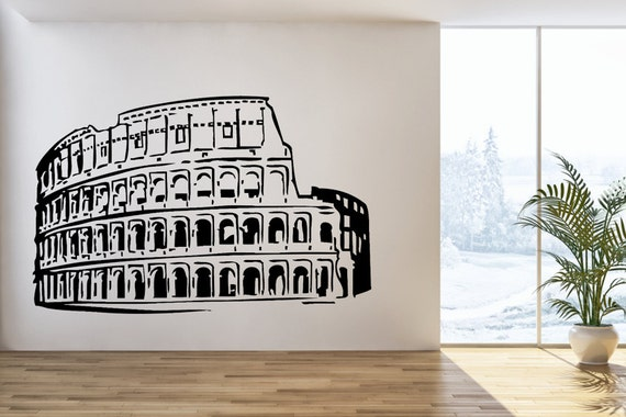 Rome coliseum wall decal interior wall decals italy skyline for Wall stickers roma