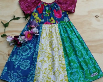 JASKA unique one of a kind, wearable art peasant dress, 100%cotton, girls dress, size 2-4.