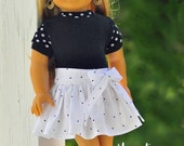 18 inch doll clothes, AG doll clothes, Girl doll clothes, white w/black pin dots party skirt and black sweater top