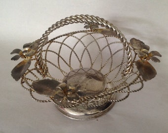 vintage silver tone patina woven metal basket twisted handle flower and leaf decorations