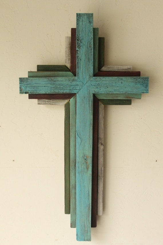 "Reclaimed Wood from Oklahoma - 24"" Multi Color Cross - Bluish Turquoise primary color"