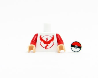 Pokemon Go Team Valor Torso (Red) - miniBIGS Custom LEGO Figure Part made from Genuine LEGO Minifigure Elements