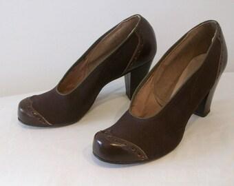 Iconic 1940s pinup snub toe spectator heels US 6 1/2 UK 4 1/2 NOS!