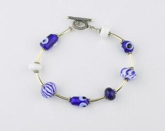 Blue and White Lampwork Bead Bracelet
