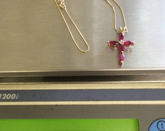 VINTAGE 14K Yellow Gold Ruby and Diamond Cross and Chain