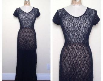 Vintage Navy Lace Maxi Dress