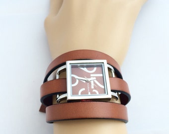 Leather Wrap Watch, Women's Leather Watch, Wrist Watch, Brown Leather Watch, Bracelet Watch, Wrap Around Watch, Gift For Her, Women's Watch