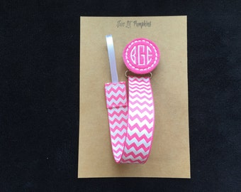 Baby Shower Gift - Baby Girl Pacifier Clip - Monogram Pacifier Clip - Pink Quatrefoil - Pink Monogram - Baby Girl Paci Clip - Pink and White