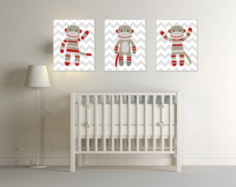 nursery monkey art print nursery art print sock monkey nursery prints baby boy. Interior Design Ideas. Home Design Ideas