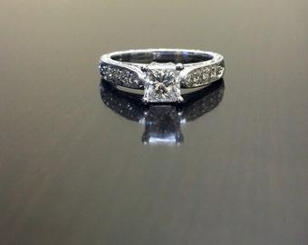 14K White Gold Princess Cut Diamond Engagement Ring - Art Deco Princess Cut Diamond Wedding Ring - Hand Engraved Ring - 14K Diamond Ring