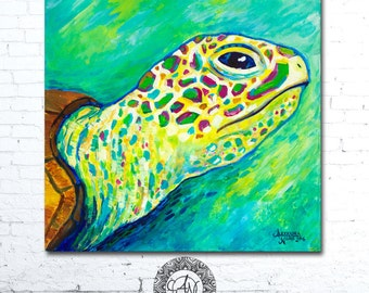 Sea Turtle, Coastal Art, Sea Turtle Art, Matted Print, Sea Turtle Print, Sea Turtle Painting, Ocean Art, Wall Art, Matted Print