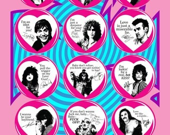 "MEDIUM Punk & Glam Valentines Buttons (2.25"" pinbacks) [david bowie siouxie ramones iggy pop morrissey smiths marc bolan motorhead t.rex]"