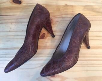 1980s Garolini Pumps  // 80s Patchwork Skin Heels // Vintage 1980s Brown Pumps