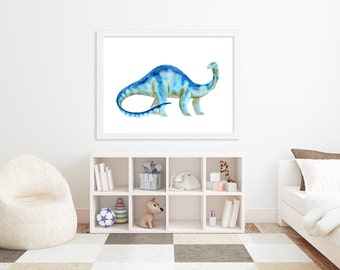 Brontosaurus Watercolor - Kids Dinosaur Art - Dinosaur Decor - Kids Art - Kids Wall Decor - Dinosaur Print - Dinosaur Art - Large Kids Art
