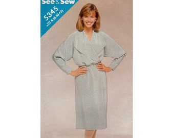 Women's Straight Wrap Dress Sewing Pattern Misses Size 8, 10, 12 Uncut Butterick See & Sew 5345