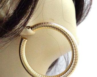 STAINLESS STEEL earrings Gold Hypo-Allergenic Hoop Earrings 2 inch Hoop Tube Textured Sensitive Ear Safe