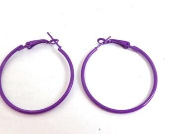 Deep Purple Hoop Earrings Thin Hoops 1.5 inch Hoop Earrings