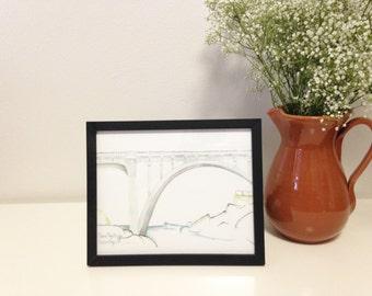 Art Print // Depoe Bay Bridge // Limited Edition Watercolor // Depoe Bay Oregon // Bridge