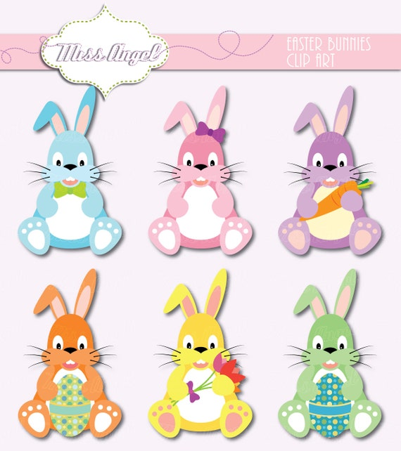 Sweet Easter Bunnies Clip Art 6 Rabbits Colorful Bunny With Egg Carrot Printable By MissAngelClipArt From