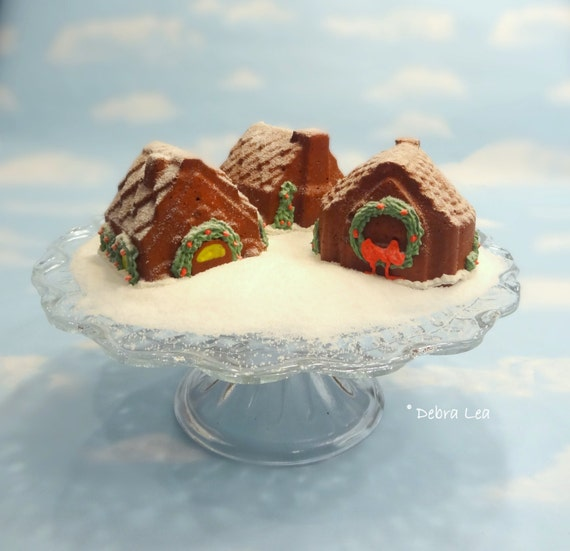 Fake Gingerbread House Mini Cakes SET A Handmade Faux Holiday Candyland Kitchen Decor Centerpiece