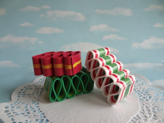 Fake Ribbon Candy Set Faux Realistic Handmade Red Green Holiday RB02
