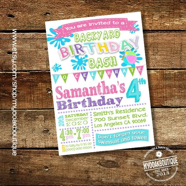 Birthday Invitation Summer Party Pink Teal Lime Green Girl Bright