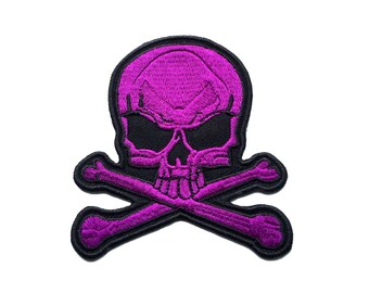 "3.5"" Black purple SKULL crossbone Embroidered Iron on patch ATTITUDE punk rock rebel"