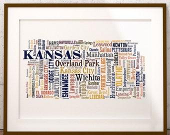 Kansas Map Color Typography Map Art,Kansas Cities & Towns Map Poster,Kansas Poster Print,Text Art Print,Word Map
