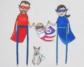 custom family portrait with 2 big people + 1 toddler + 1 dog | hand drawn portrait. birthday gift. anniversary gift. new baby