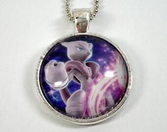 Mega Mewtwo X Pokemon Necklace OR Keychain - Upcycled Pokemon Card Necklace - Silver Pendant w/Chain - Mewtwo Necklace - Pokemon Pendant
