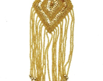 """Choice fo Color Diamond Shape Epaulet, Gold Sequin Beaded, 10"""" x 3""""  Gold, Silver and Moonlight-B219"""
