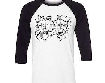 Cat Lady Tattoo Baseball Tee, Tumblr Grunge, Flower Design