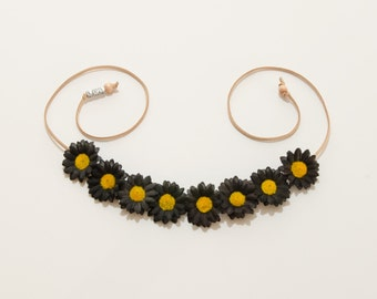 Black Daisy Flower Crown, Flower Headband, Hippie Headband, Festival Headband, Bohemian Headband, Gothic Clothing, Halloween Headband
