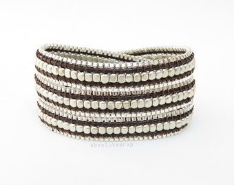 Silver plated beads wrap bracelet with chain trimming on soft brown polyester cord, triple wrap bracelet