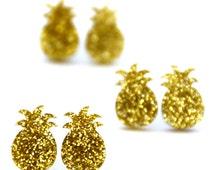 Glitter Pineapple Earrings · Gold Glitter Pineapples
