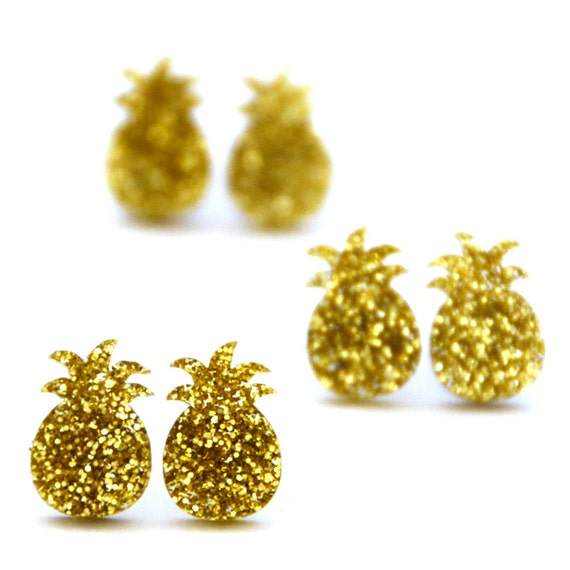 Glitter pineapple earrings