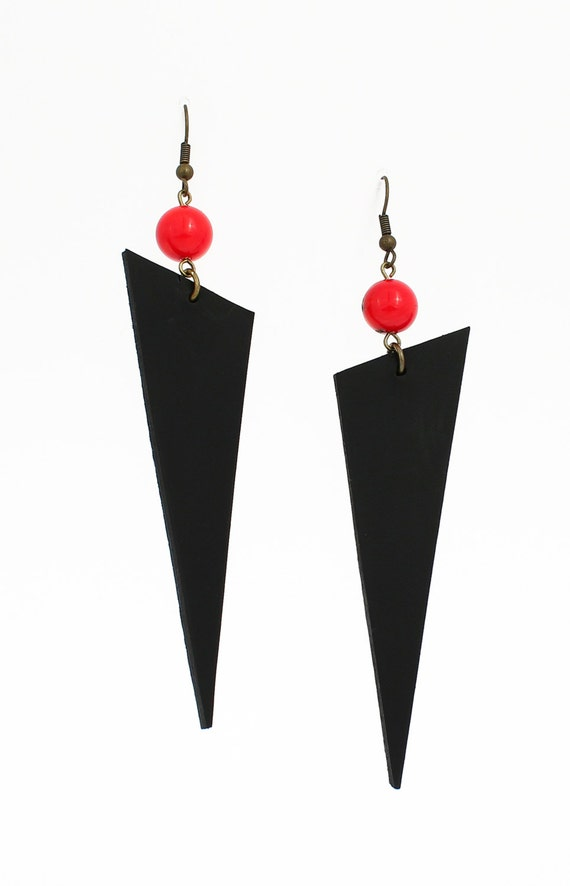Dramatic earrings - unique long earrings - red coral earrings - dagger earrings