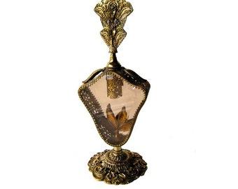 Ormolu Perfume Bottle With Beveled Amber Glass Floral and Filigree Design - Vintage Vanity - Vintage Home Decor - Vanity Table