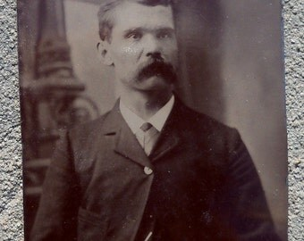 SALE: Antique Tin Type Photo - Gentlemen with Mustache