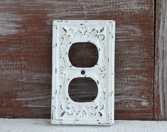 Shabby White Outlet Cover, Wall Plug Cover, Distressed Electrical Outlet Plate Cover, Cast Iron Receptacle cover plate, Wall Socket Cover