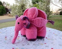 Crochet Elephant Stuffed Animal, Amamani Puzzle Ball, Made to Order, Your Choice of Two Colors