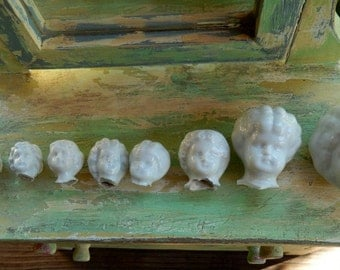 Antique Lot of 9 German Broken Off China Doll Heads ~ Graduated Sizes (G9)