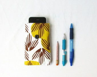 Retro print phone case, hand printed yellow and brown leaf print fabric, Iphone 6 5s 5c 4s samsung galaxy s2, handmade in the UK