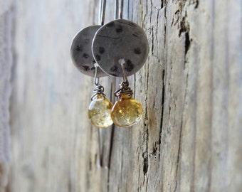 Citrine earrings. Artisan earrings. Citrine quartz earrings. Handcrafted oxidized sterling silver earrings. November birthstone.