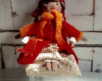 Hand knitted rag doll,, one of a kind cloth doll, gift doll for her, handmade birthday doll, anniversary gift No11