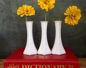 60s Milk Glass Bud Vase Sisters