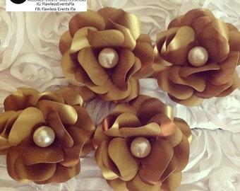 Metallic gold rose paper flower with pearl center